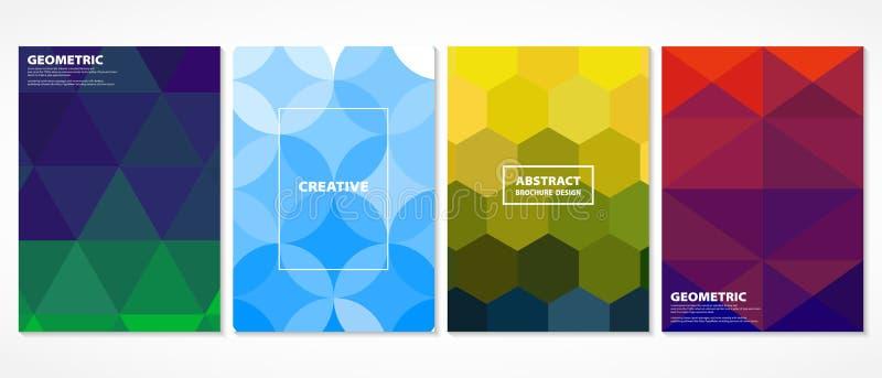 Tampas mínimas coloridas do mosaico do sumário Decorar em testes padrões geométricos da forma projeta com cor vívida Você pode us ilustração stock