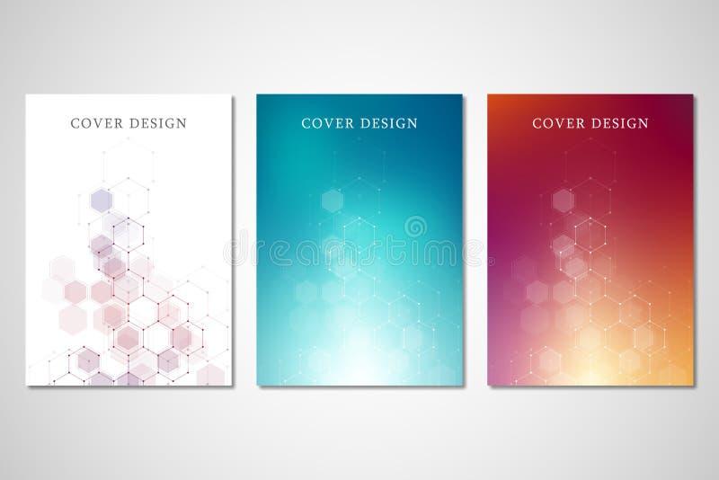 Tampas ou folheto do vetor para a medicina, a ciência e a tecnologia digital Fundo abstrato geométrico com hexágonos ilustração do vetor