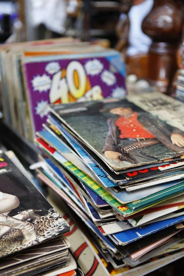 Tampas velhas do álbum de registro foto de stock