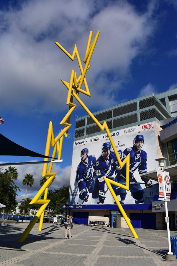 Tamper, Florida - de V.S. - 07 Januari, 2017: Amalie Arena Thunder Al royalty-vrije stock afbeeldingen