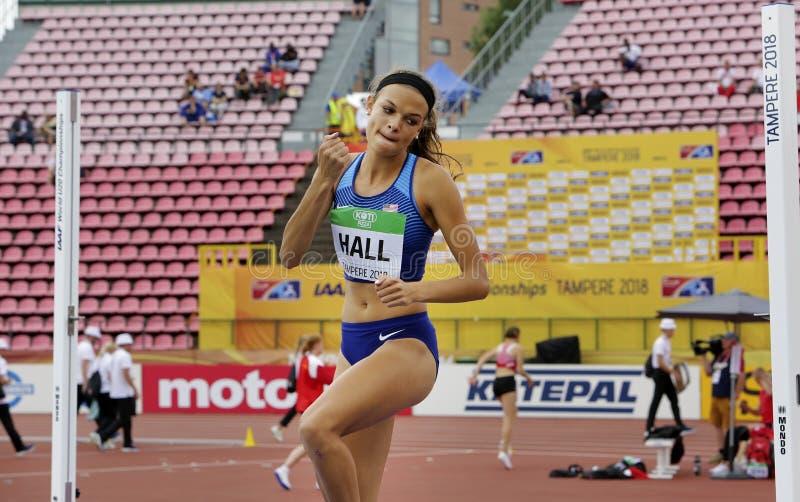 TAMPERE, FINLAND, 12 Juli: ANNA HALL de V.S., Amerikaanse spoor en gebiedsatleet op heptathlongebeurtenis in de IAAF-Wereld U20 royalty-vrije stock foto