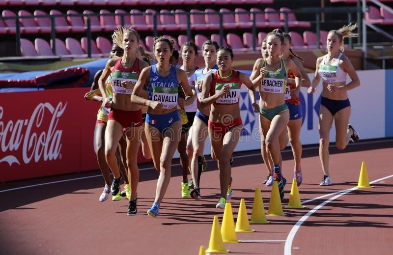 ANNA MARK HELWIGH, LUDOVICA CAVALLI Italia, BRIELLE ERBACHER Australia, KRISTLIN GEAR USA on 3000m STEEPLECHASE on IAAF World U20 stock photo