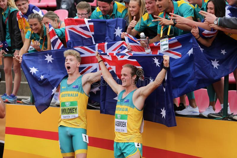 ASHLEY MOLONEY and GARY HAASBROEK Australia win gold and silver medals in decathlon on IAAF World U20 Championship Tampere 2018. TAMPERE, FINLAND, July 11 stock image