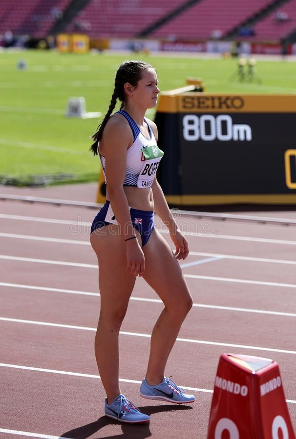 TAMPERE, FINLAND,  July 10: ISABELLE BOFFEY from GREAT BRITAIN on the 800 METRES semi-final at the IAAF World U20 Championships in. Tampere, Finland on July 10 royalty free stock photos