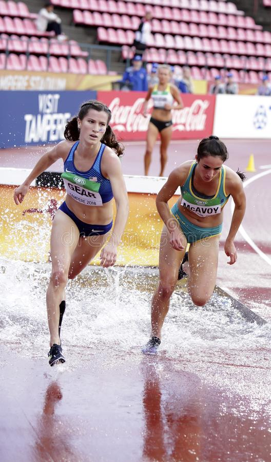 KRISTLIN GEAR and MONTANNA MCAVOY running 3000 metres steeplechase in the IAAF World U20 Championship in Tampere, Finland stock photo