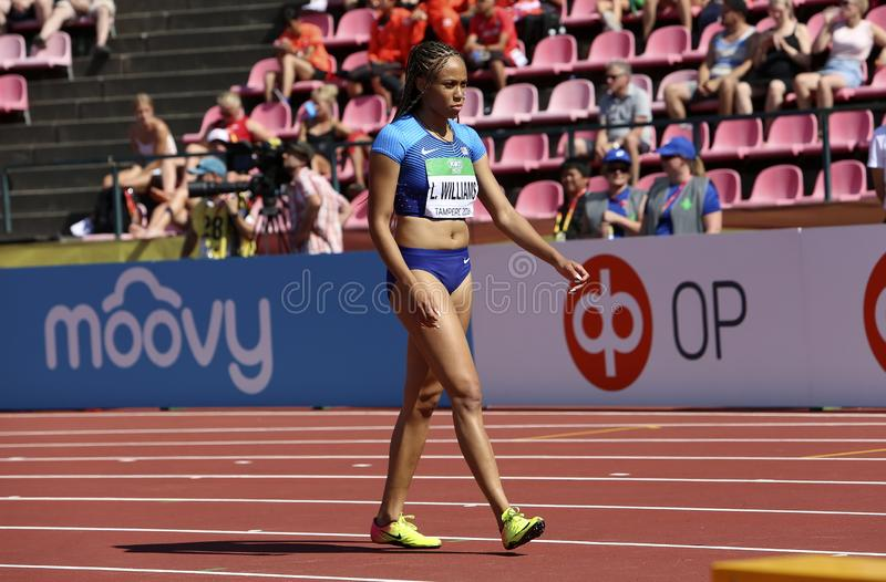 LAUREN RAIN WILLIAMS from USA win silver on 200 metres final in the IAAF World U20 Championship in Tampere, Finland 14 July, 2018. TAMPERE, FINLAND, July 14 royalty free stock photography