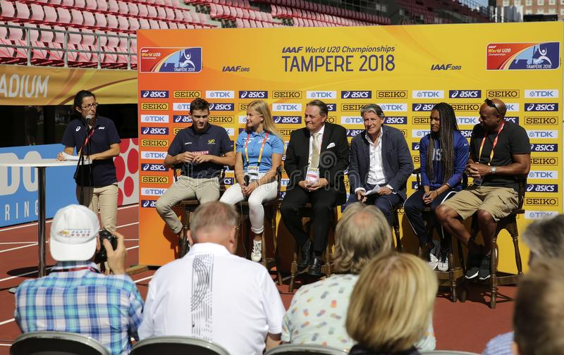 Tara Davis, Lisa Gunnarsson, Armand Duplantis, Mike Powell, Sebastian Coe on the press conference in Tampere, Finland 2018. Tampere, Finland. 9th July, 2018 royalty free stock photography