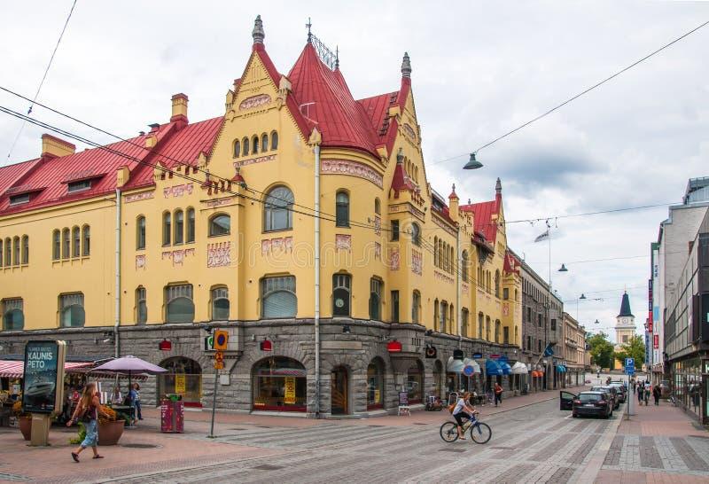 Tampere, Finlande, le 11 août 2014 : Rue de Hämeenkatu photo stock