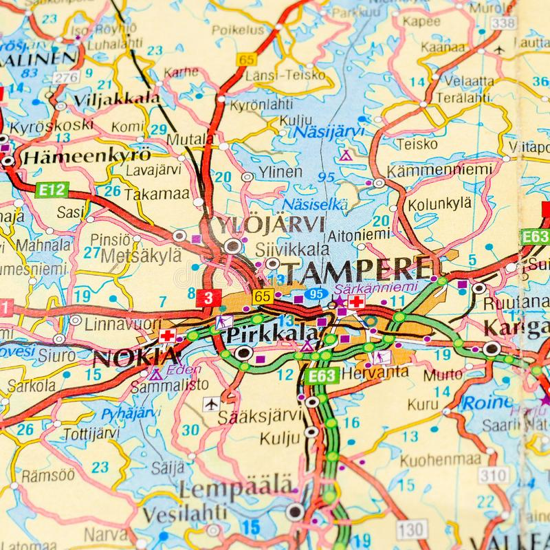 Tampere on a map stock photo Image of continent europe 111162354