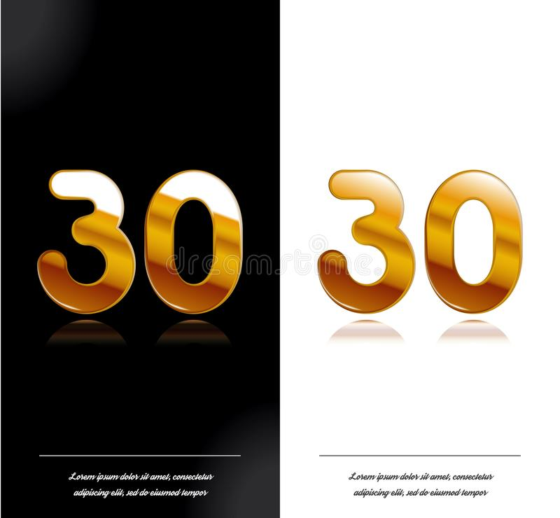 30 - tamplate blanco y negro de las tarjetas del aniversario del año libre illustration