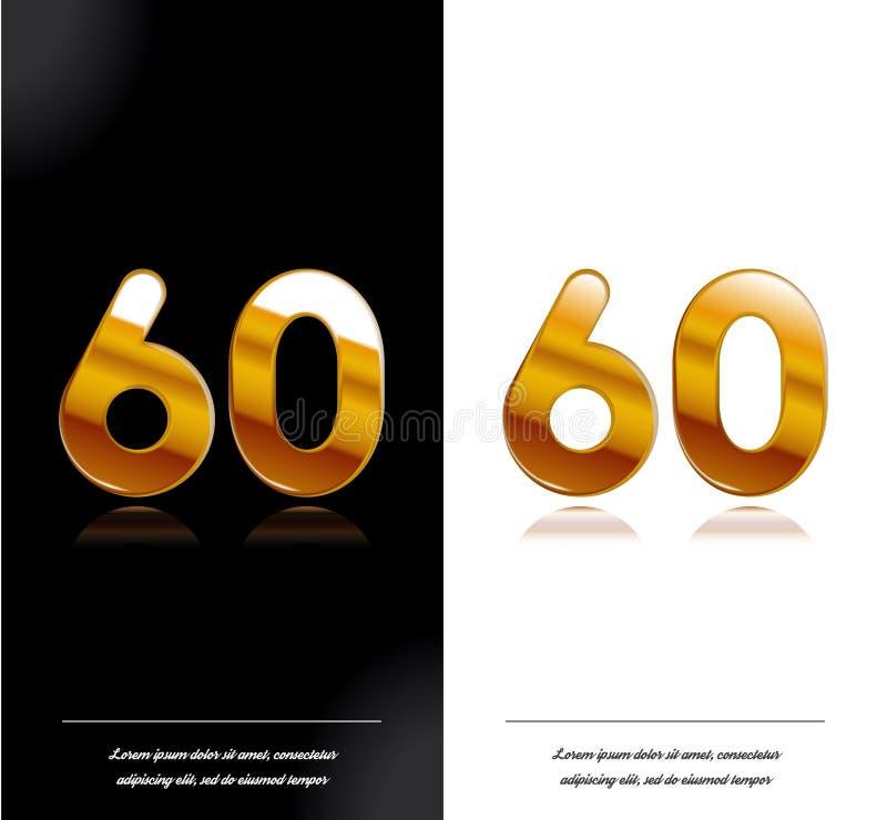 60 - tamplate blanco y negro de las tarjetas del aniversario del año ilustración del vector