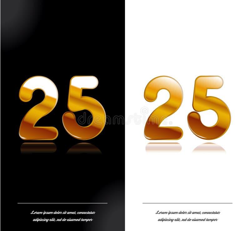 25 - tamplate blanco y negro de las tarjetas del aniversario del año ilustración del vector
