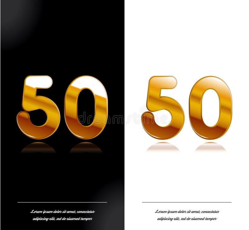 50 - tamplate blanco y negro de las tarjetas del aniversario del año stock de ilustración
