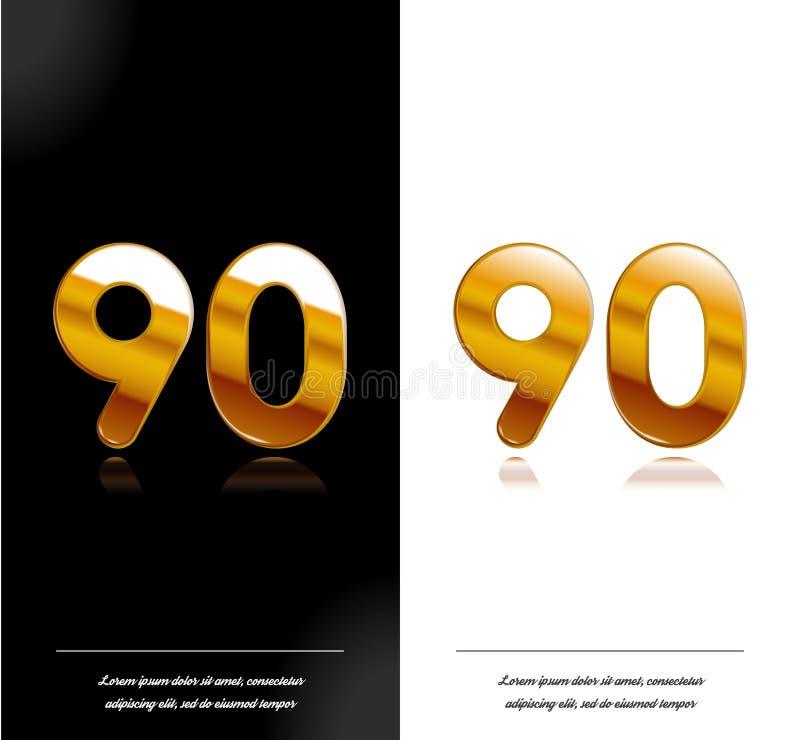 90 - tamplate blanco y negro de las tarjetas del aniversario del año stock de ilustración