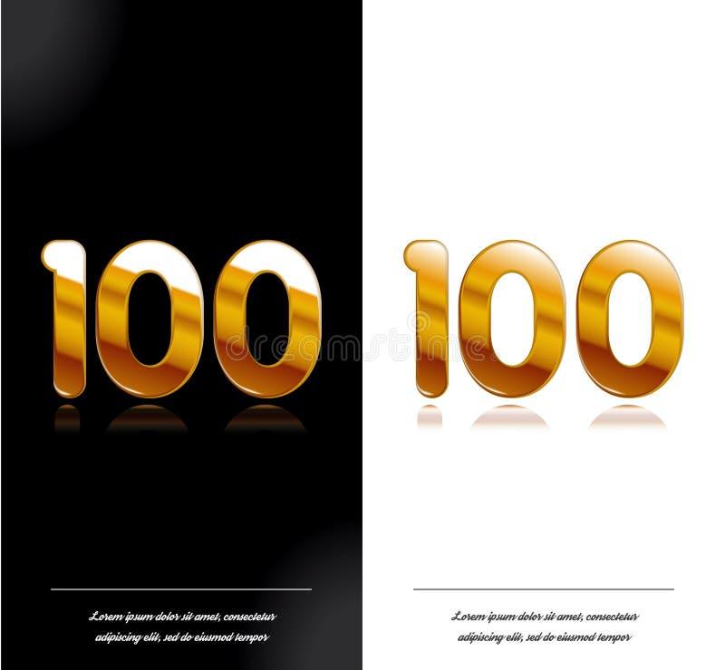 100 - tamplate blanco y negro de las tarjetas del aniversario del año libre illustration