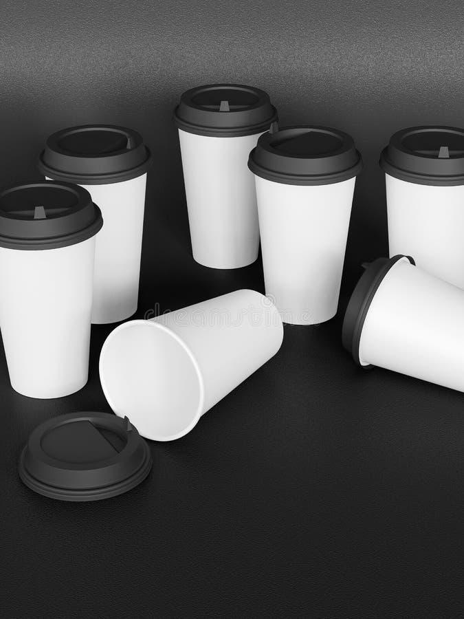 Tamplate 3d delle tazze di carta con un coperchio che sta su un aereo sotto il natu fotografia stock