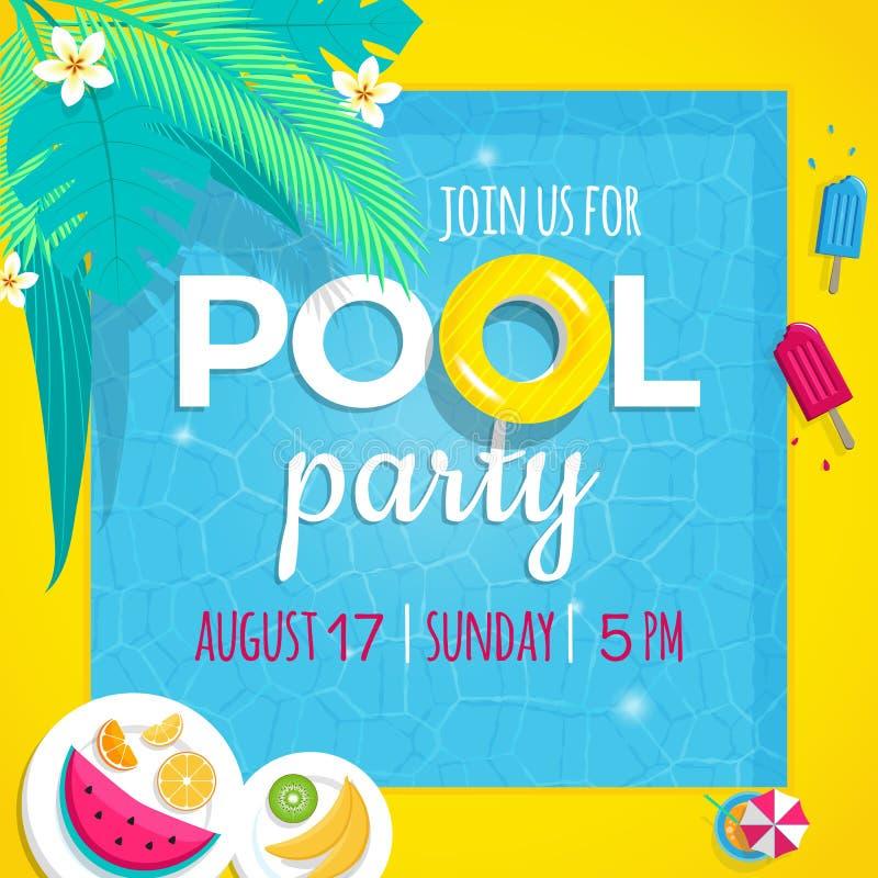 Tamplate dell'illustrazione di vettore dell'invito della festa in piscina con il fondo della piscina illustrazione vettoriale