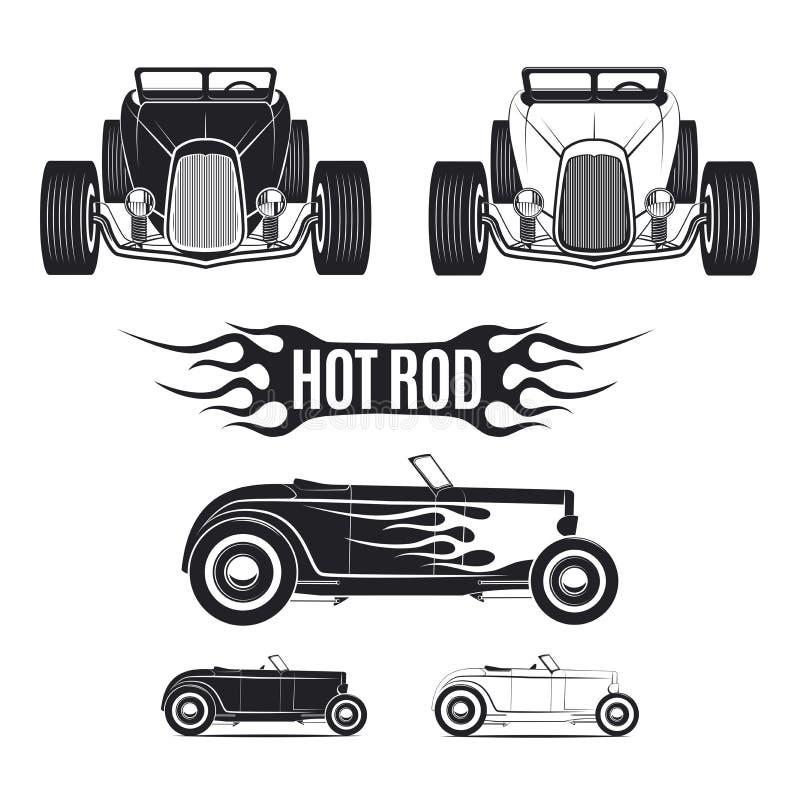 Tamplates de voiture de hot rod pour des icônes et emblèmes d'isolement sur le fond blanc illustration de vecteur