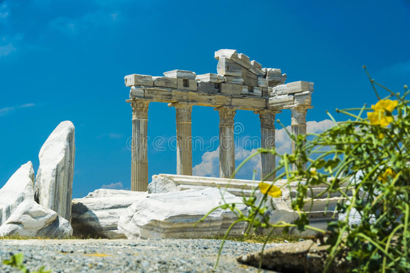 Tample of Apollon in Side. View of ruins the ancient greek tample of Apollon in Side royalty free stock photos