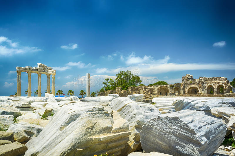 Tample of Apollon in Side. View of ruins the ancient greek tample of Apollon in Side stock photo