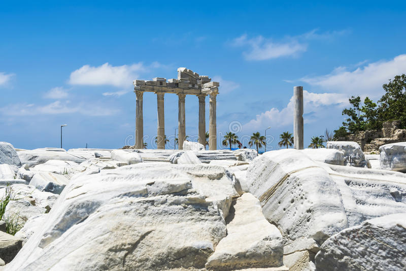 Tample of Apollon in Side. View of ruins the ancient greek tample of Apollon in Side royalty free stock images