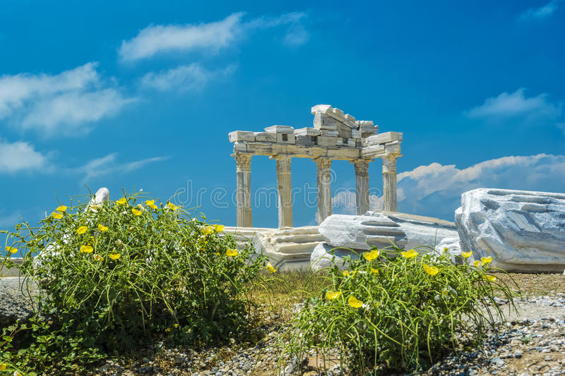 Tample of Apollon in Side. View of ruins the ancient greek tample of Apollon in Side stock photography
