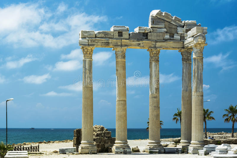Tample of Apollon in Side. View of ruins the ancient greek tample of Apollon in Side stock images