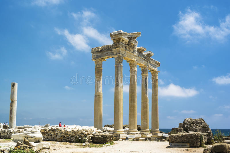 Tample of Apollon in Side. View of ruins the ancient greek tample of Apollon in Side royalty free stock image