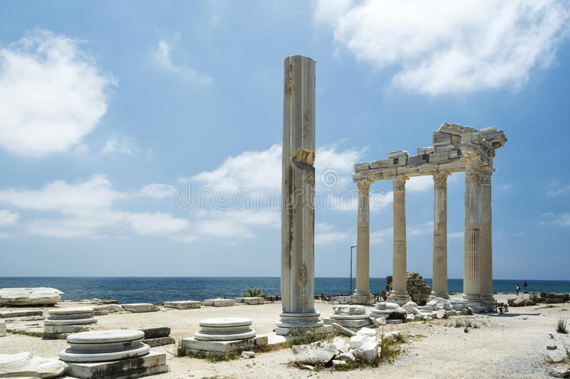 Tample of Apollon in Side. View of ruins the ancient greek tample of Apollon in Side royalty free stock photo