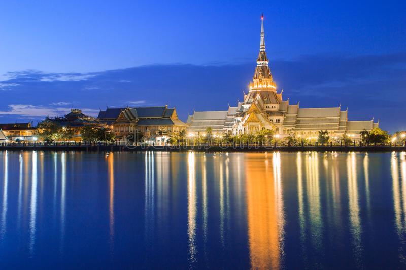 Tample in reflection. With blue sky in thailand royalty free stock photos