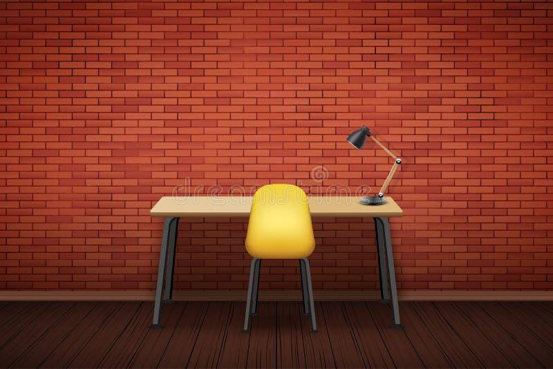 Tampo da mesa de madeira do local de trabalho com cadeira ilustração royalty free