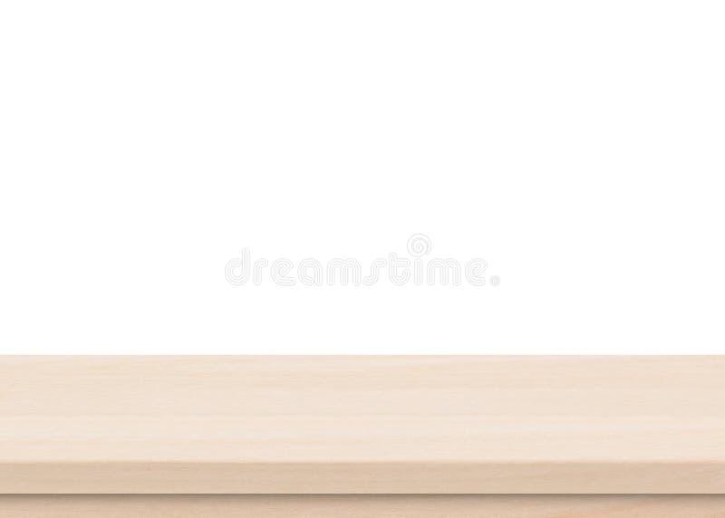 Tampo da mesa de madeira marrom vazio isolado no fundo branco fotos de stock