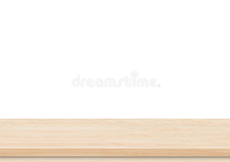 Tampo da mesa de madeira marrom vazio no fundo branco imagens de stock royalty free