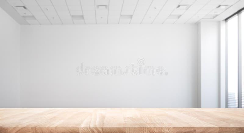 Tampo da mesa de madeira da natureza real no fundo do escritório da sala branca fotografia de stock royalty free