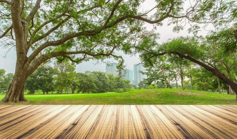 Tampo da mesa de madeira no jardim no fundo da cidade fotografia de stock royalty free
