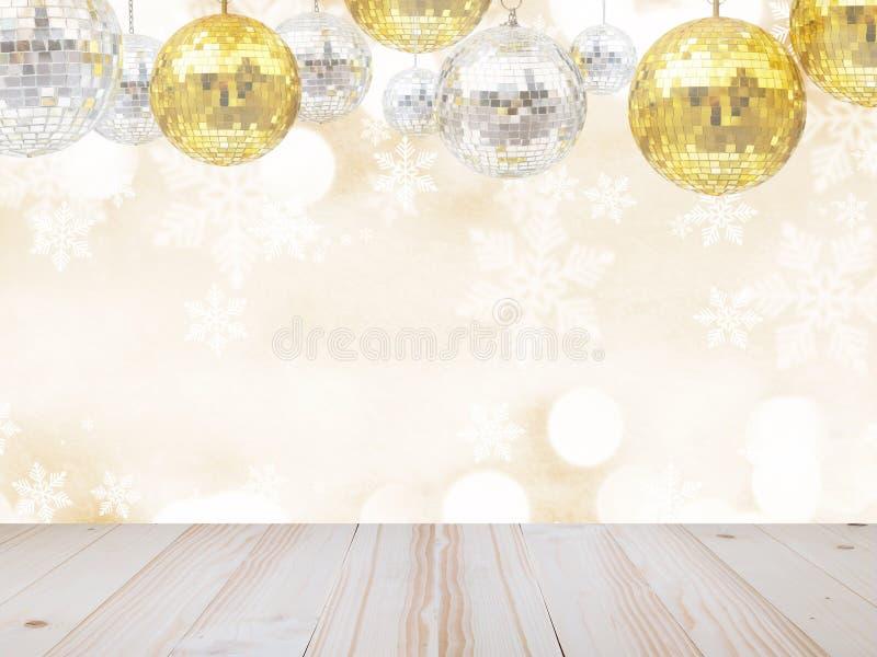 Tampo da mesa de madeira sobre o grupo de bolas do brilho do disco por feriados do Natal ou do ornamento do ano novo fotografia de stock