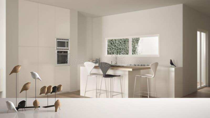 Tampo da mesa ou prateleira com o ornamento minimalistic do p?ssaro, knick brancos do passarinho - dom sobre a cozinha branca e d ilustração royalty free
