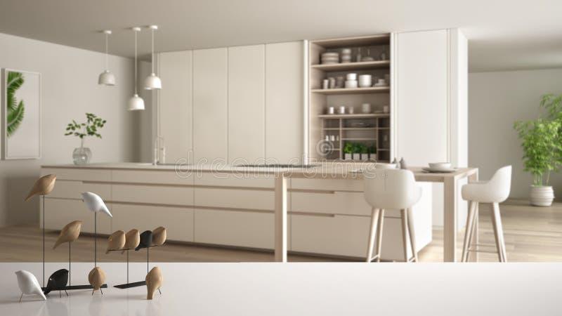 Tampo da mesa ou prateleira com o ornamento minimalistic do p?ssaro, knick brancos do passarinho - dom sobre a cozinha branca e d ilustração do vetor
