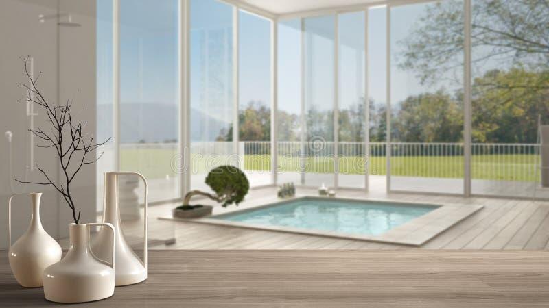 Tampo da mesa ou prateleira de madeira com os vasos modernos minimalistic sobre o banheiro moderno borrado com a janela panorâmic ilustração do vetor