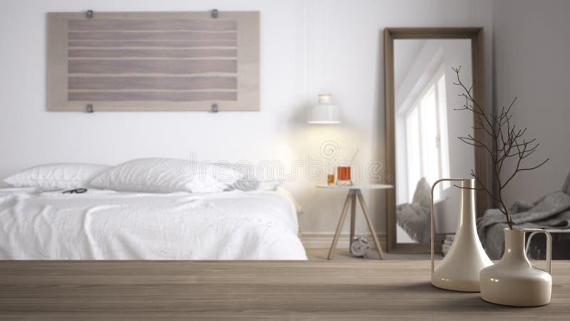 Tampo da mesa ou prateleira de madeira com os vasos modernos minimalistic sobre o quarto minimalista borrado do whit com cama de  ilustração do vetor