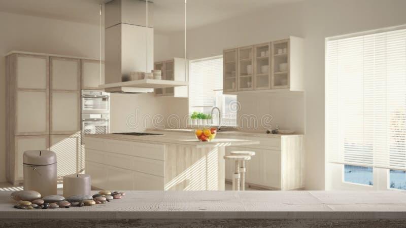 Tampo da mesa ou prateleira de madeira do vintage com velas e seixos, humor do zen, sobre a cozinha minimalistic moderna borrada, ilustração stock