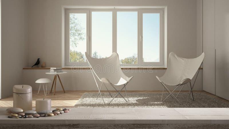 Tampo da mesa ou prateleira de madeira do vintage com velas e seixos, humor do zen, sobre a sala de visitas branca minimalista va ilustração do vetor