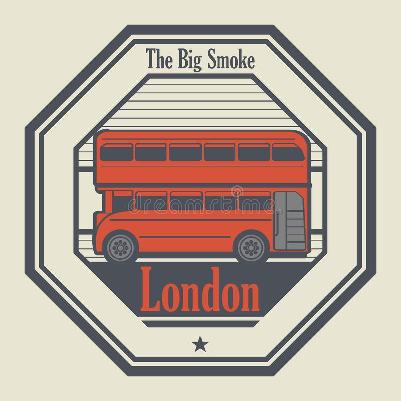 Tampon en caoutchouc abstrait avec Londres, Angleterre illustration libre de droits