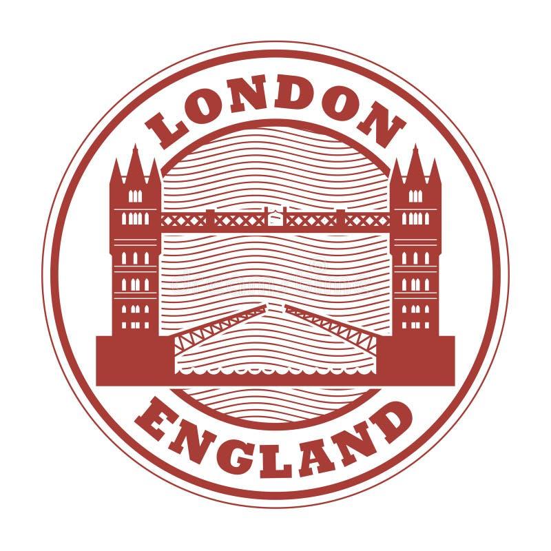 Tampon en caoutchouc abstrait avec Londres, Angleterre illustration de vecteur