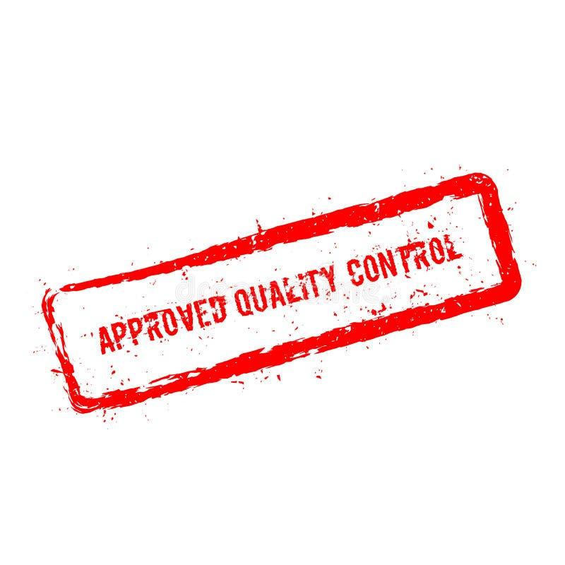 Tampon en caoutchouc approuvé de rouge de contrôle de qualité illustration de vecteur
