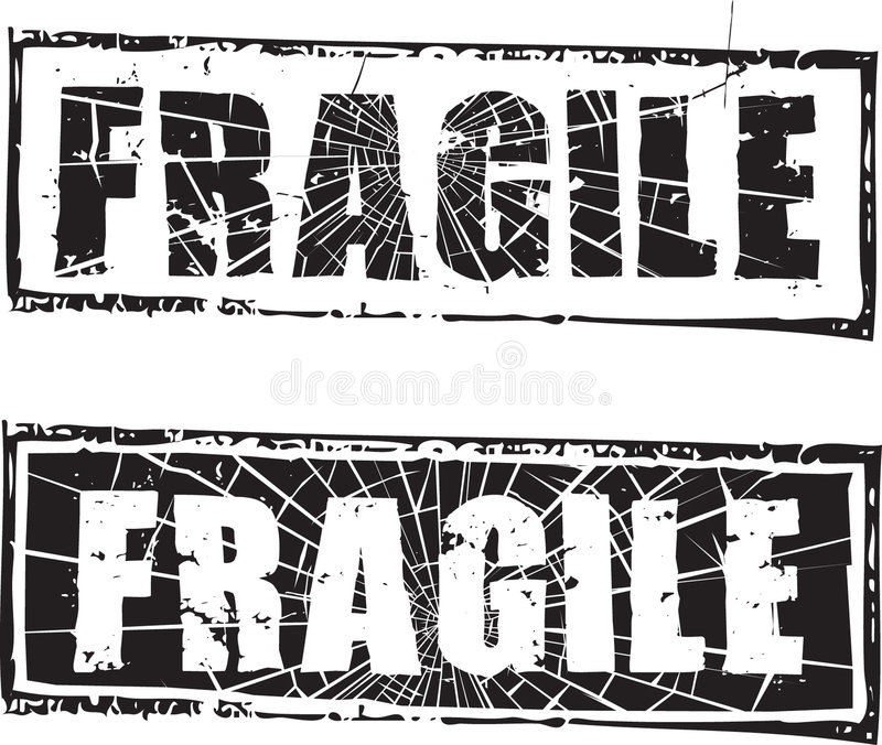 Tampon en caoutchouc avec le texte fragile illustration libre de droits
