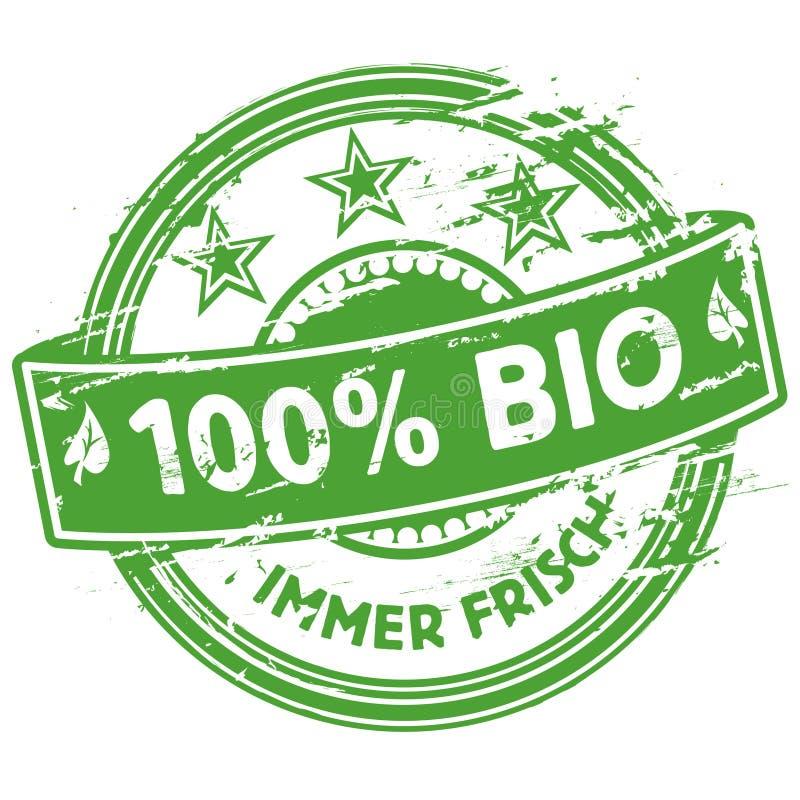 Tampon en caoutchouc 100% bio illustration stock