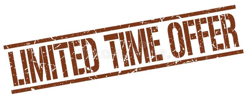 tampon en caoutchouc carré grunge de brun d'offre de temps limité illustration libre de droits