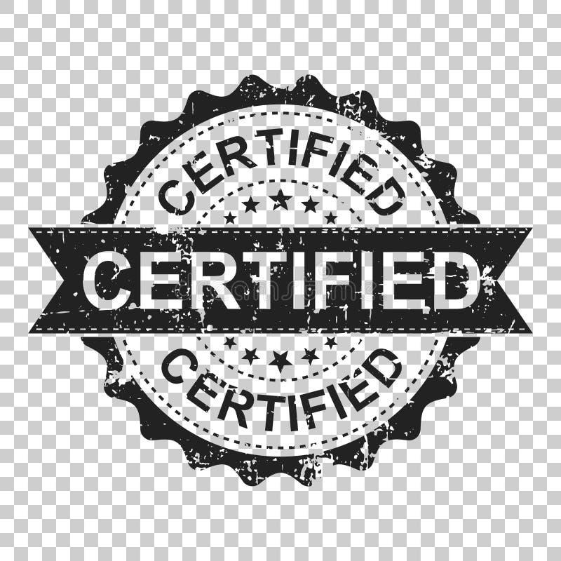 Tampon en caoutchouc certifié de grunge d'éraflure L'illustration de vecteur est allumée illustration stock