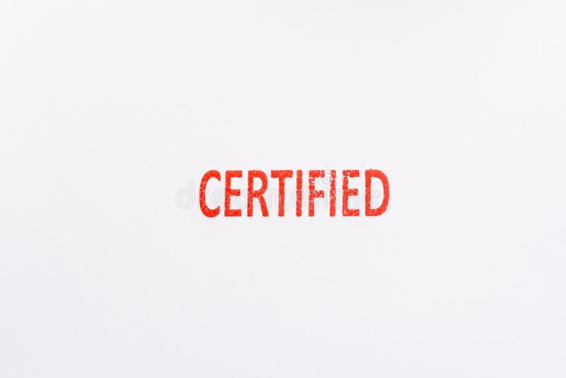 Tampon en caoutchouc certifié par rouge photographie stock libre de droits